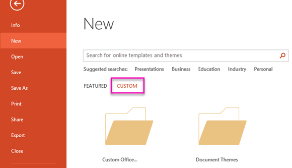 On the File New page, select Custom to access the template you created.