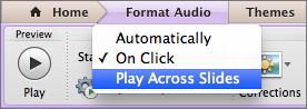 Select Play Across Slides