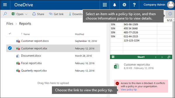 Information pane showing policy tip