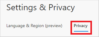 Settings & Privacy page, showing highlighted Privacy tab option