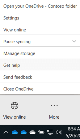 OneDrive for Business desktop client 'More' menu showing Get Help and Send Feedback options