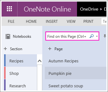Screenshot of the Search box in OneNote Online.