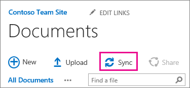 The Sync command in a SharePoint document library