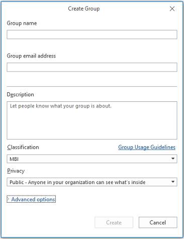 New Group info page in Outlook
