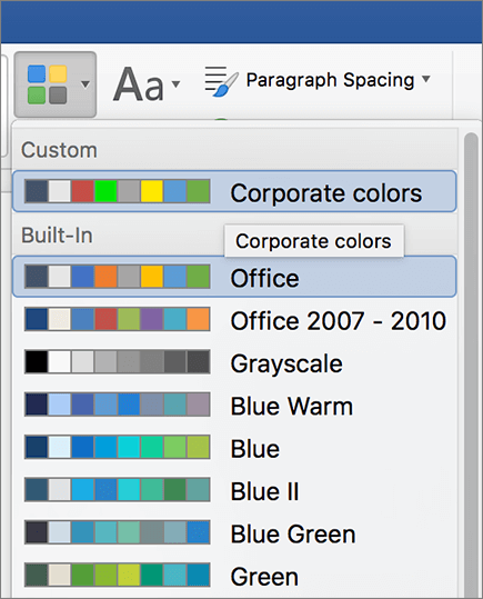 Word custom theme colors