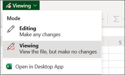 View Mode menu on the single-line ribbon
