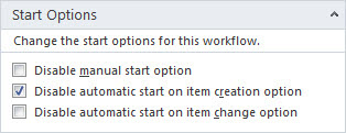 Workflows Start Options