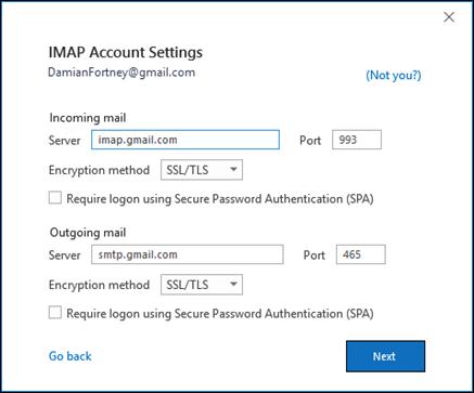 Verify your Gmail IMAP settings.