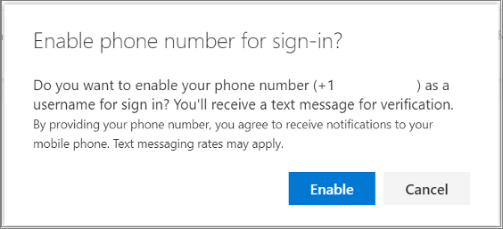 Confirmation dialog to enable SMS sign-in for a phone number