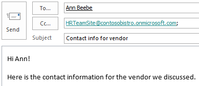 Email message with site mailbox included in CC field.