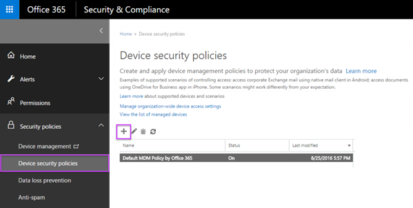 Create device security policies