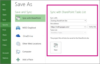 Sync with SharePoint area in the Backstage image