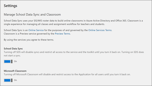 Screenshot of Settings in School Data Sync, to turn School Data Sync on or off.