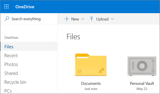 Screenshot of Personal Vault appearing in the Files view in OneDrive on the web