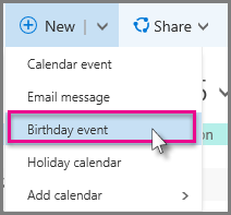 New > Birthday event