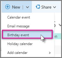 New > Birthday event