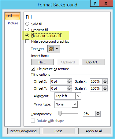 The Format Background dialog box
