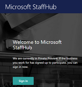 Sign-in screen on Microsoft StaffHub web app