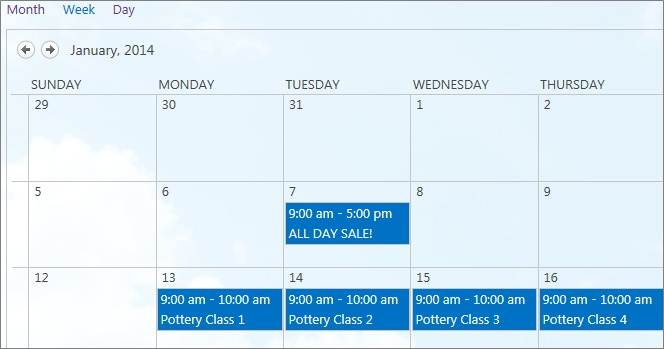 A monthly calendar view on a public website