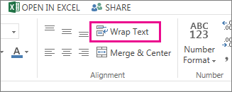 Click Wrap Text on the Home tab