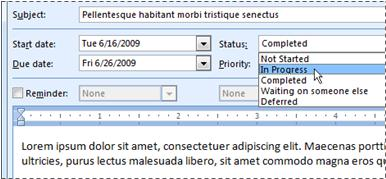 Change task status from Completed to In Progress