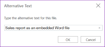 Add alt text to embedded files in OneNote for the web