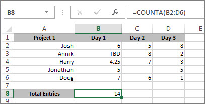 Use COUNTA to count cells that aren't blank - Excel