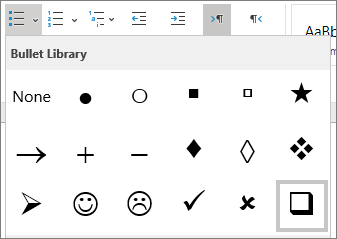 Choose the checkbox symbol in the bullet library