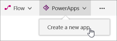 PowerApp menu item on command bar with Create Power app highlighted.