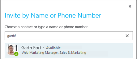 Invite by Name or Phone Number dialog box