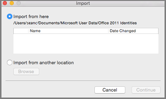Import Identities dialog with Import from here selected