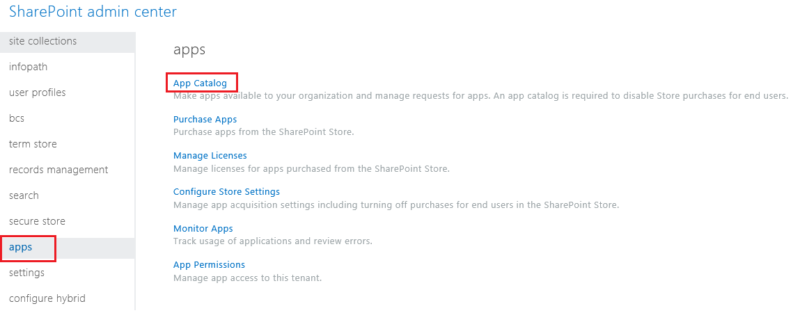 Screenshot of the SharePoint Admin Center App Categories.