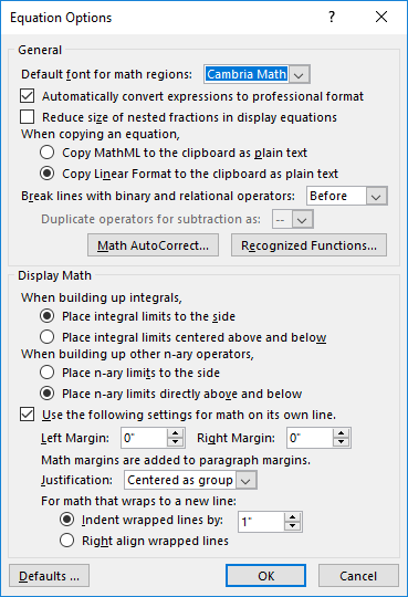 Equation Options dialog