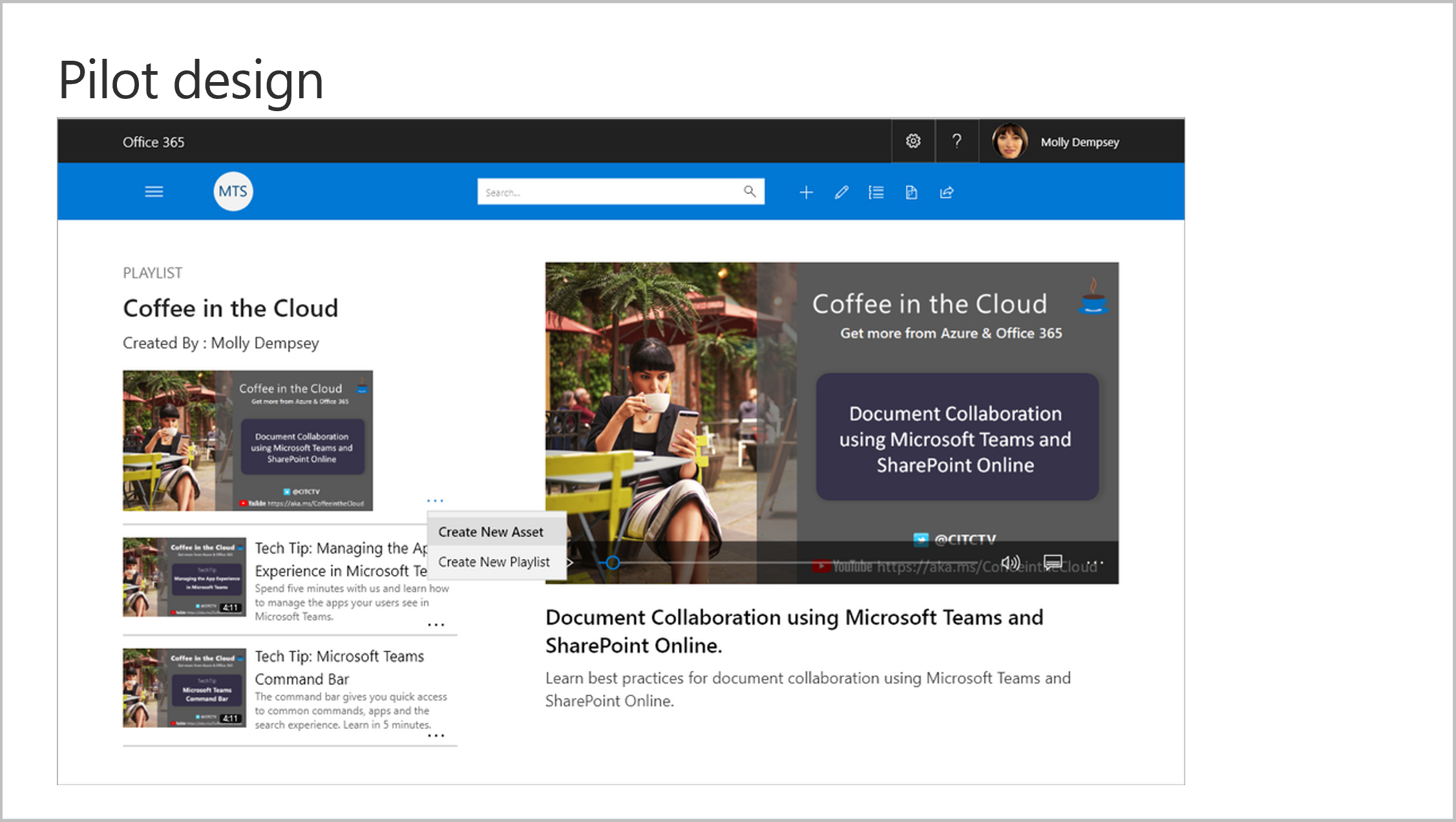 Image of the pilot design experience for Microsoft Training Services