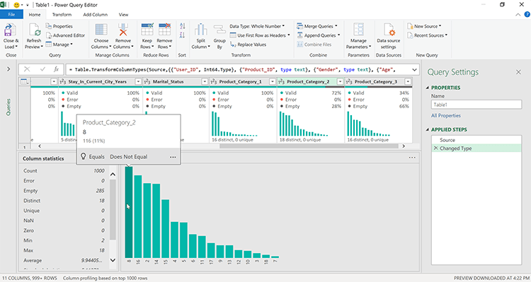 Power Query Editor Data Profile views