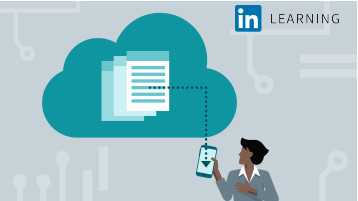 Shows a card with an illustration of a woman holding a device and interacting with a graphical representation of Office in the cloud. Represents the course called Microsoft Cloud Services: Administer Office 365 and Intune.