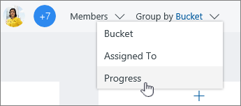 Click Group by, and select Progress