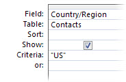 query criteria to display specific word results