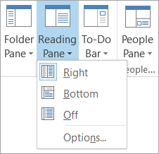 Reading Pane options on the View tab