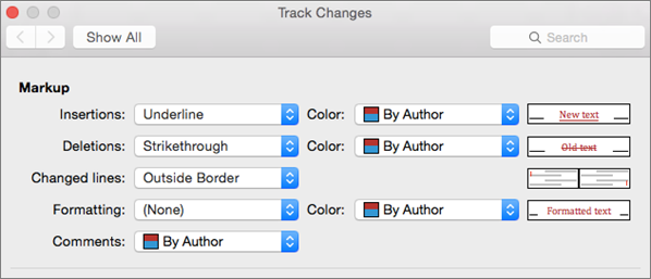Track Changes dialog box