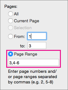 Print specific pages and ranges of pages by specifying them in Page Range.