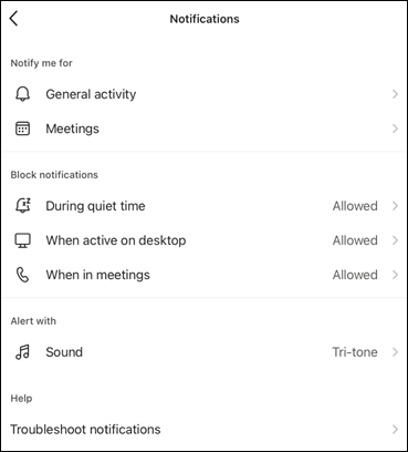 Notification options (iOS)