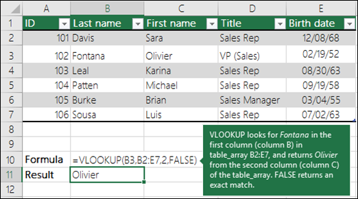 Look up values in a list of data - Excel