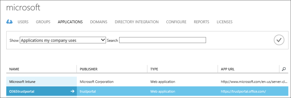 Shows Azure AD applications listed with Service Trust highlighted (O365trustportal).