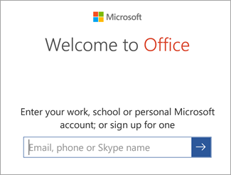 Enter your Microsoft Account email or Office 365 account