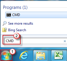 Click Start, and then type CMD in the Search programs and files dialog box.
