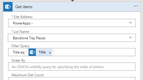 Type the title in the Filter Query field on the Get items step