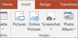 Insert pictures in your slide deck with the tools in the Images group