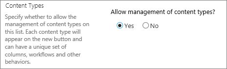 The allow management of content types button under Advanced setting