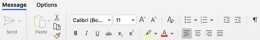 Font group on the Message tab in Outlook for Mac.